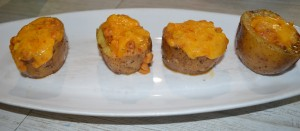 Jacket potatoes stuffed with corn and cheese