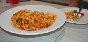 Fettuccine with basil in arrabiata sauce